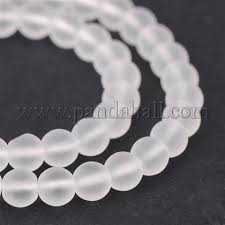 Frosted Natural Quartz Crystal Round Beads Strands, <b>6mm</b>, Hole