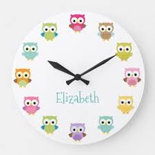 colorful owl nursery wall clock