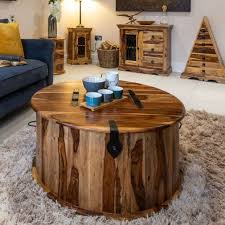 jali light round trunk coffee table