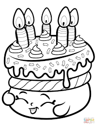 Cute Cakes Shopkins Coloring Page Free Pages Online Intended For Of