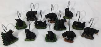 set of 12 black bear shower curtain hooks lodge cabin mountain regarding proportions 1600 x 749