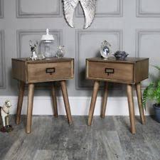 vintage looking bedroom furniture. Pair Of Wooden 1 Drawer Bedside Lamp Table Retro Urban Office Bedroom  Furniture Vintage Looking Bedroom Furniture L