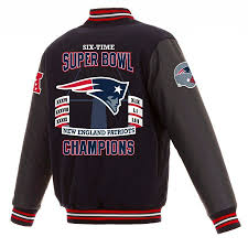 new england patriots nfl 6 time super bowl champions wool rev jacket