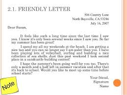 Writing A Friendly Letter Example Sample Professional Letter Formats