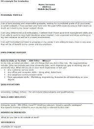 Graduate Cv Examples Icover Org Uk