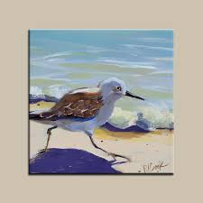 sandpipers beach bird running on the sand oil painting on gessoboard