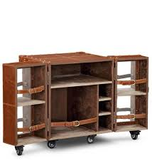 bar trunk furniture. heritage mini trunk bar cabinet in tan brown leather by studio ochre furniture a