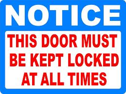 please lock door sign. Please Lock The Door Sign C