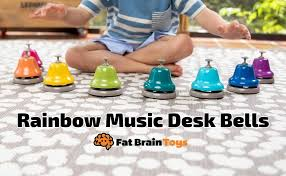 5 tall handles are easy to grasp for all ages. Amazon Com Fat Brain Toys Rainbow Music Desk Bells Music For Ages 3 To 7 Toys Games
