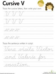 cursive word practice cursive v worksheet education com