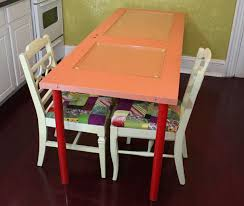 diy learn how to make a colorful dining table using a recycled door