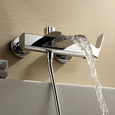 chrome finish single handle wall mount waterfall bathtub faucet hand shower not included faucetsuperdeal com