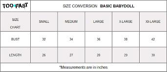 Felina Size Chart