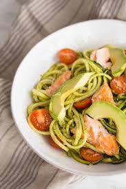 pesto zucchini noodles with salmon and avocado