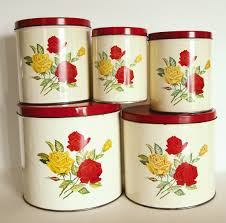 Red And Yellow Kitchen Vintage Canister Set Red And Yellow Roses By Gsw General Steel