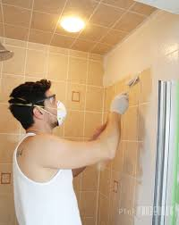 painting ceramic tile in shower fantasy yes you really can paint tiles rust oleum transformations kit along with 14