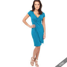 Womens V Neck Wrap Front Top Jersey Midi Dress Cap Sleeve Pleated