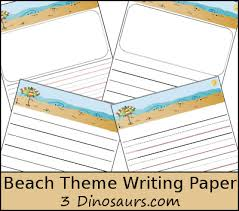 beach themed writing paper dinosaurs  beach themed writing paper com