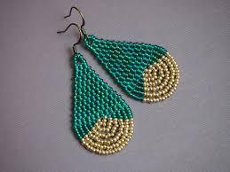 AB teal and light gold <b>seed bead</b> teardrop earrings. by BohemEden ...