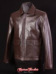 men s indiana jones brown cowhide indy us army military leather blouson jacket