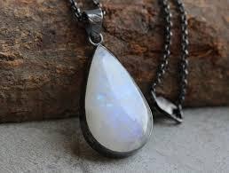 oxidized rainbow moonstone pendant necklace tear drop silver pendant
