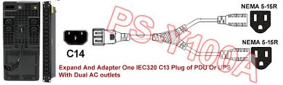 iec320 c14 plug to 2 nema 5 15 outlet splitter cord 5 15r Outlet Diagram expand and adapt 1 of iec320 c13 plug from pdu, power strip or ups with 2 of nema 5 15r 3 prong us style ac outlets Outlet 5- 15 20R