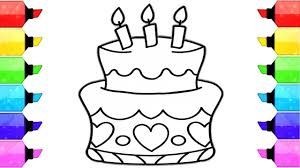 Birthday Cake Drawing How To Draw Birthday Cake Coloring Pages For
