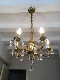 vintage french gilt bronze chandelier 5 arm ceiling light with crystal prisms la85321 loveantiques com