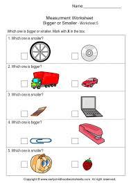 Size Measurement Worksheets on Bigger or Smaller