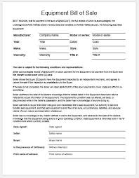 The Bill Of Sale Equipment Bill Of Sale Template For Word Formal Word Templates