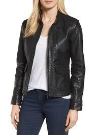 bernardo kerwin pocket detail leather jacket regular petite