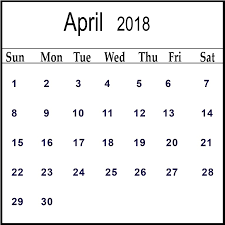 Blank Calendar April 2018 Printable Template Download
