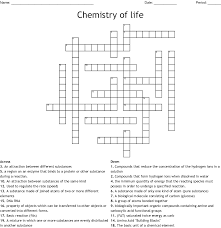 Unit 2 Chemistry Of Life Crossword Wordmint