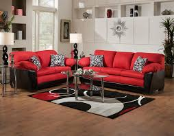 cheap furniture. Electric Red Soft Fabric With Black Leather Combination Modern Cushion Sofa Brown Wood Base Cheap Furniture
