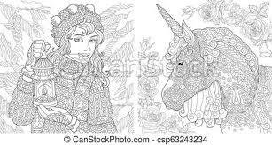 Coloring Pages With Winter Girl And Unicorn Fantasy Coloring Pages