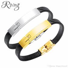 2019 roing vintage leather id bracelet for man fashion handmade bangle black gold color full steel smooth men jewelry ro1290 from blingjewelrymall