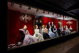 house of fraser s bafta inspired window on london s oxford street is embellished with crystal cut chandeliers and theatre set style decoration