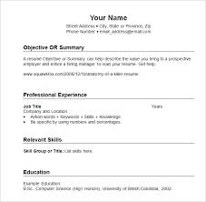Free Sample Resumes Templates Chronological Resume Template 23 Free Samples  Examples Format Printable
