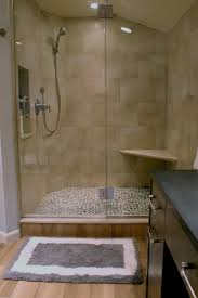 porcelain wood tile shower with pebble floor ceramic wood tile bathroom