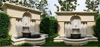exterior wall mounted drinking fountains. beige marble outdoor water features, garden landscaping stones sculptured fountains, exterior wall mounted fountain drinking fountains o