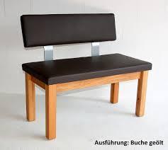 Sitzbank 160x83x53cm Gepolstert Mit Rückenlehne Leder