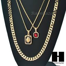 details about men iced out ruby king tut diamond cut 30 cuban link box rope chain necklace 47