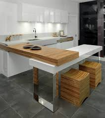 Small Unique Modern Kitchen Design In Natural Wood And White With Small Eat In  Counter