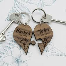 personalised couples romantic joining heart keyrings