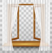 closed window clipart. vector - wooden window frame with curtains on a transparent background. vector. closed clipart