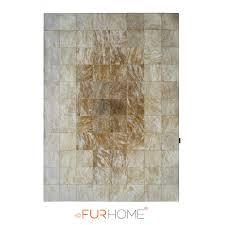 reduced patchwork cowhide rug 20 medium brown white