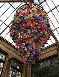 one thousand origami cranes chandelier