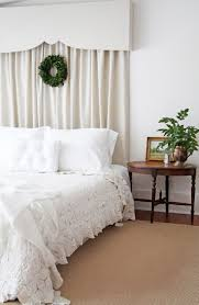 The Dreamy Curtain over Bed Treatments : Stunning White Bedroom Decorating  Ideas With White Curtains Behind