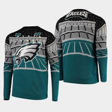 Philadelphia Eagles Sweater With Lights Men Eagles Bluetooth Light Up Sweater Midnight Green