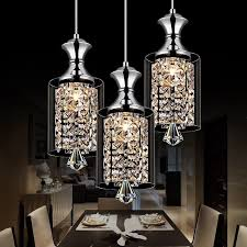 image of dining crystal chrome chandelier pendant light with crystal beaded drum shade